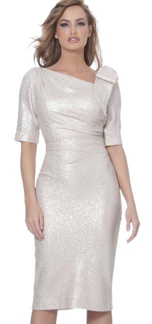 Jovani Gold Dress w Bow on Shoulder