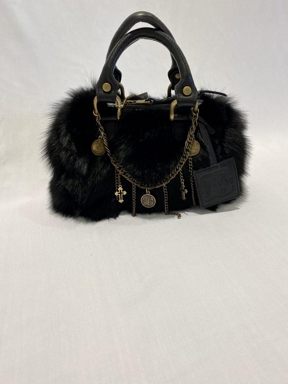 T.ba Bolsito Black Fur Handbag