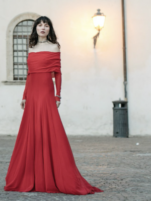 Petit Pois Long Off the Shoulder Scarlet Dress
