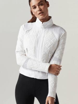 Blanc Noir White Camo Mesh Moto Jacket