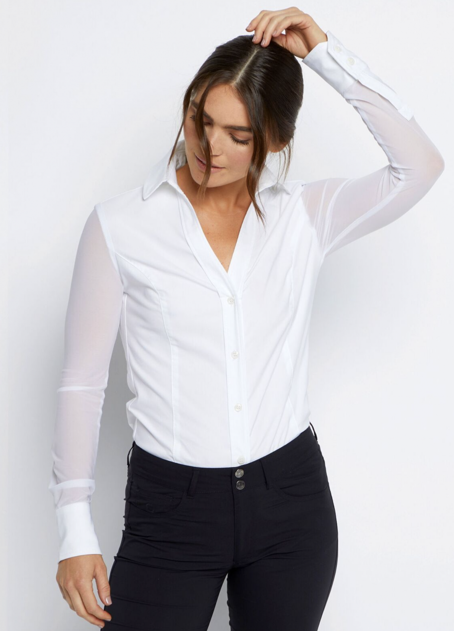 Anatomie White Woven/Mesh Button Down Collared Shirt