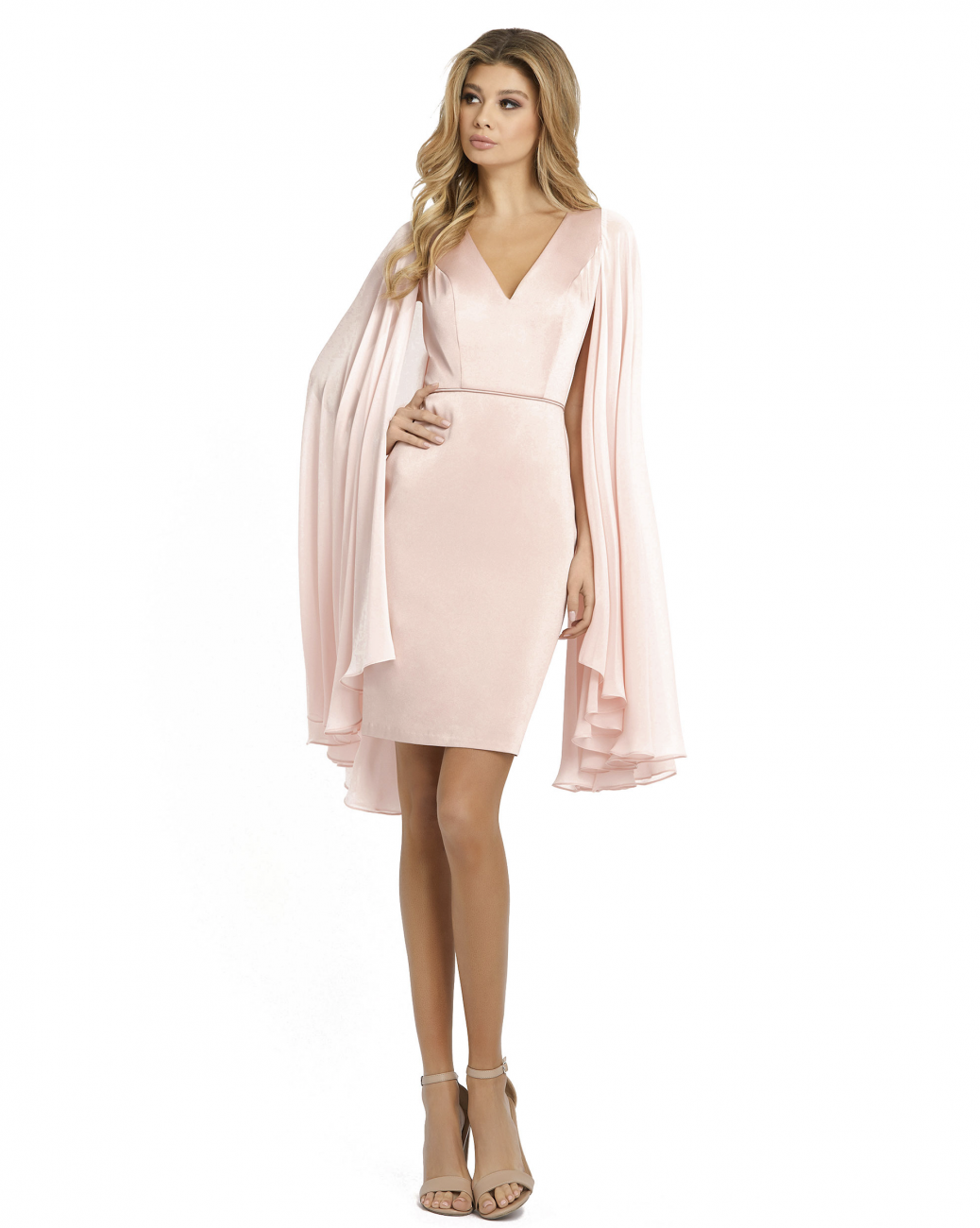 Mac Duggal Blush Cape Sleeve Short Dress