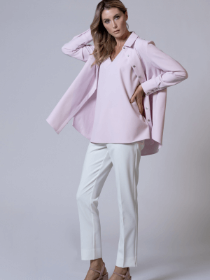 Estelle and Finn Pink Pleated Shirt